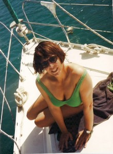 Karen strikes a pose, enjoying her time on the bow of the boat.