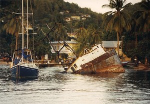 A sunken ship in the harbor at Bequia.